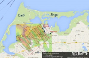 """Existiert noch nur als Plan: Mögliche Erschließung der angenommenen Erdöl-Lagerstätte """"Big Barth"""" (ungefähre Darstellung)"""
